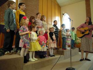 Children's Choir singing during worship